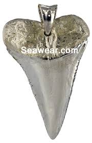 silver great white shark tooth necklace jewelry