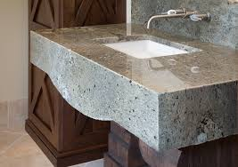granite stone bathroom vanity tops with long faucet over square sinks