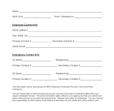 Employee Emergency Contact Information Template Emergency Contact List Template For Employees Viralpole Info