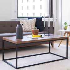 image doxa solid wood modern industrial coffee table black metal box frame with dark walnut finish