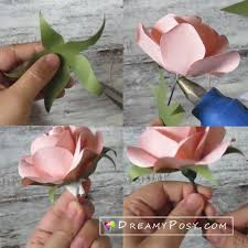 Paper Flower Stems Easy Tutorial To Make A Paper Rose Free Template