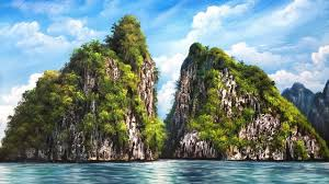 beautiful rock island beach in acrylic painting slideshow version