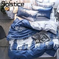 solstice home textile 3 4pcs blue nordic style bedding sets boy kid bed linen