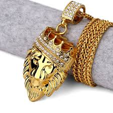 hip hop fashion gold chain king crown lion head pendant gold necklace for men is cool and personalized newchic