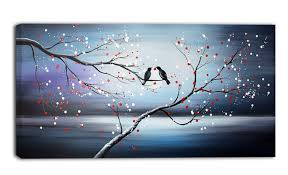 together forever love birds painting print on wrapped canvas