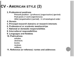 American Curriculum Vitae Format Cv Resume Resume Cv American