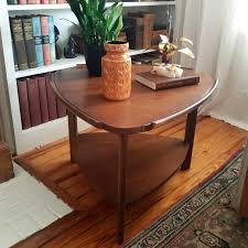 mid century lane guitar pick side table vintage walnut image 0