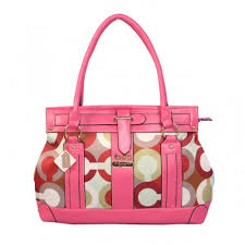 ... Coach Logo Signature Large Pink Satchels BTF ...