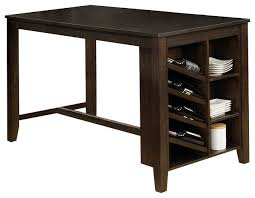 Wine rack dining table Rectangular Quinn Cappuccino Counter Height Dining Table With Storage Shelf And Wine Rack Transitional Dining Tables By All In One Furniture Houzz Quinn Cappuccino Counter Height Dining Table With Storage Shelf And
