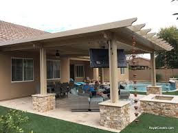 Outdoor Dining and TV Area with Alumawood Patio Cover Royal