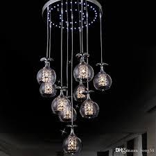 new modern clear wine glass crystal pendant lamp k9 crystal living room restaurant chandelier light hanging suspension light with blue light drum shade