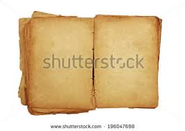 open old book with blank pages for text isolated on white background