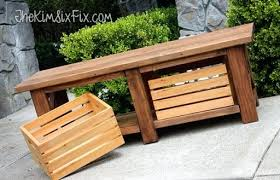 wood bench plans with storage rustic x leg wooden bench with built in crate storage made wood bench plans