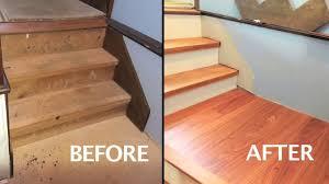 engineered wood floor install on stair platform