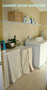 laundry room makeover and no sew sink skirt