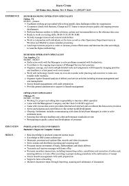 Operation Specialist Resume Samples Velvet Jobs