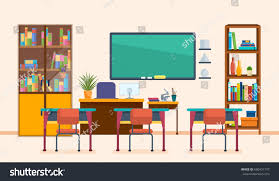 classroom table vector. school classroom with chalkboard and desks. class for education, board, table study vector a