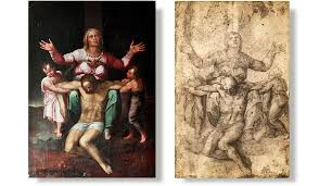 the pietà behind the couch
