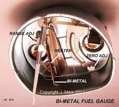 electric fuel gauges the picture above shows the gauge as it is mounted in the speedo housing the lower end of the bi metal strip is fixed the upper end will move left or