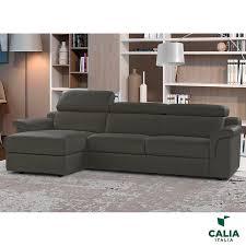 calia italia bellagio grey italian leather sofa chaise