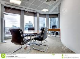 office meeting room. Modern Office Meeting Room Interior. Small Boardroom And Interior With Desks