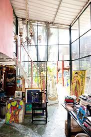 art studio decor - I love the light and colors. I love art. My favorite  place