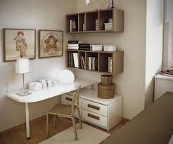 Lovely Wall Arts in Small Workspace Designs with White Table and Grey Chair  under Floating Bookshelves