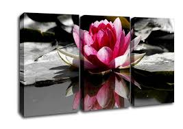 flowers 3 panel pink water lily reflections b n w canvas art on 3 panel wall art flowers with pink water lily reflections b w flowers 3 panel canvas 3 panel set