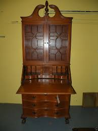 ball claw foot drop front secretary desk bookcase cabinet signed jamestown ny