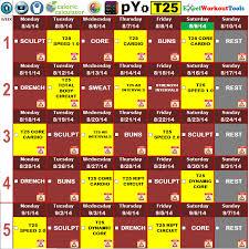 excel workout tool piyo focus t25 hybrid calendar