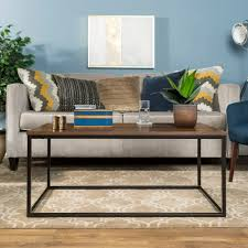 manor park 42 transitional mixed material coffee table dark walnut