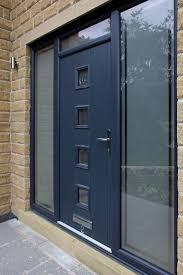 grey front doors for sale. bespoke genoa composite door in grey with integrated side panels and top light. front doors for sale