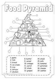 Small Picture Printable activities and worksheets about nutrition and the five