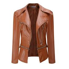 plus size pu leather jackets womens slim zipper turn down collar outwear coat femme v neck