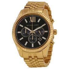 michael kors lexington chronograph black dial gold tone mens watch zoom
