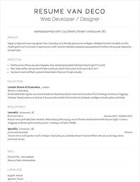 Select Template A sample template of a van Deco resume