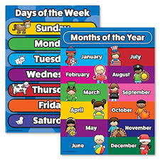 Week Days Chart Days Of The Week Months Of The Year Poster Chart Set Laminated Double Sided 18x24