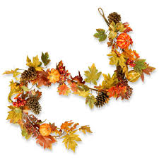 Fall Garlands With Lights Fall Leaf Garlands Leafwall Co