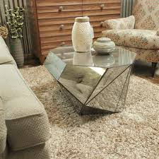 geo distressed mirrored coffee table