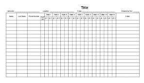 Attendance List Form Office Forms Templates Printable Business Form Attendance Checklist