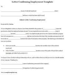 Sample Letter Confirming Employment Employment Template For Letter Confirming Example Of Letter
