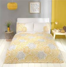 king size duvet cover set grey yellow gold scandinavian style abstract flower