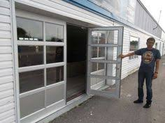 Glass Garage Doors with Passing Door Full View Anodized Aluminum