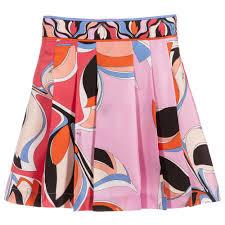 Pink Black Silk Skirt