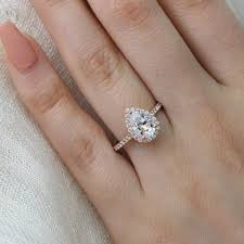 Teardrop Diamond Ring Design Luna Halo Ring In Pave Band W Pear Moissanite And Diamond