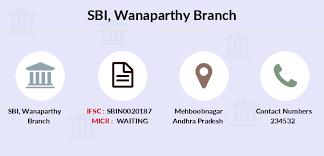Sbi Wanaparthy Ifsc Code Sbin0020187