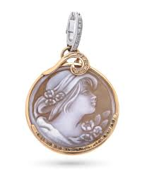 18kt rose and white gold cameo pendant engraved with diamonds unbranded
