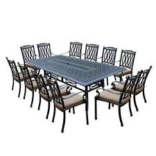 morocco aluminum 13 piece outdoor dining set with sunbrella beige cushions