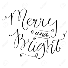 Merry And Bright Whimsical Calligraphy For Christmas Cards And