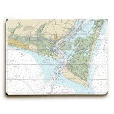 Nc Oak Island Southport Bald Head Island Nc Nautical Chart Sign Graphic Art Print On Wood